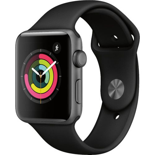 Apple Watch Series 3 (GPS) 42mm Space Gray Aluminum Case with Black Sport Band - MTF32LLA