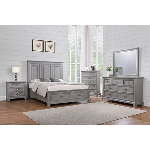 Dove Manor Grey Storage Bedroom 3PC Set - Cama King, tocador, espejo - DVMNRGRYSTRG3KG