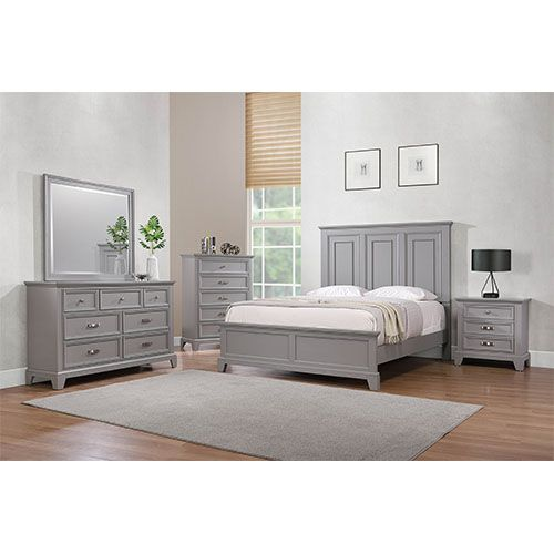 Dove Manor Grey Bedroom 3PC Set - Cama King, tocador, espejo - SPENCER3PCKG